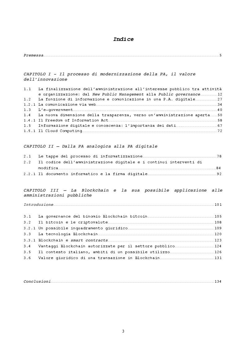 Indice della tesi: Pubblica amministrazione innovativa: Blockchain e prospettive di utilizzo , Pagina 1