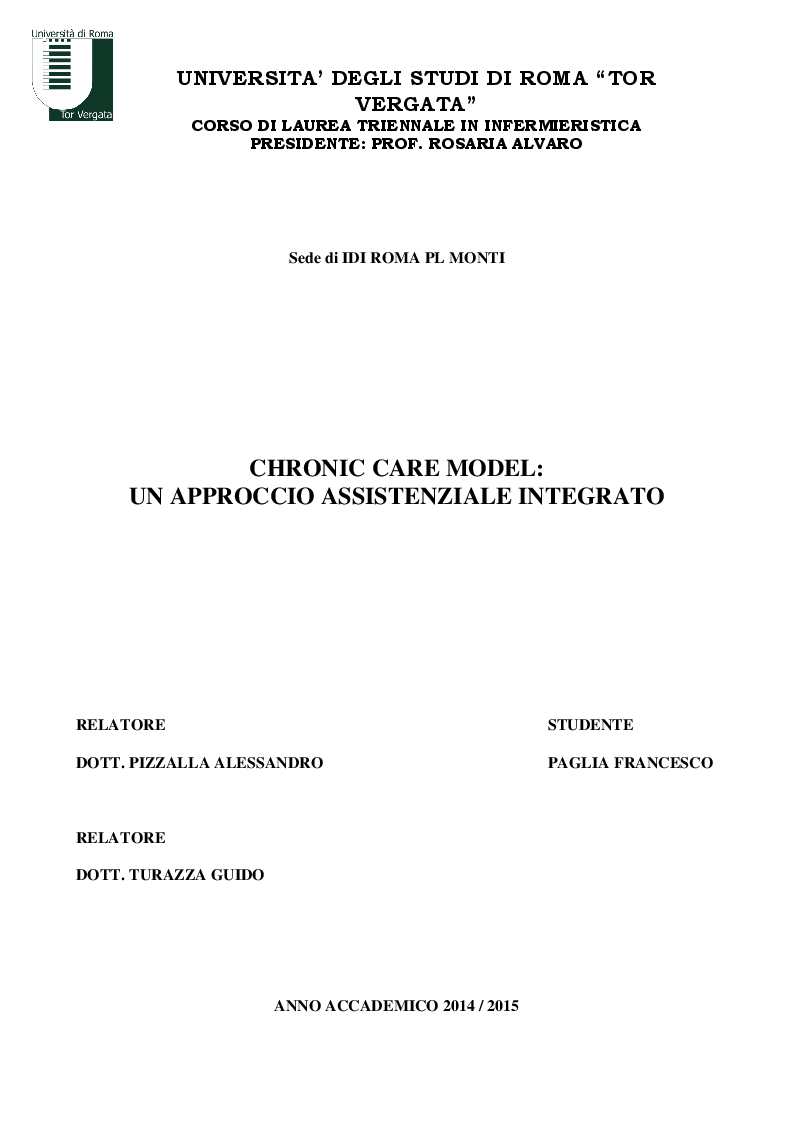 Anteprima della tesi: Chronic Care Model: un approccio assistenziale integrato, Pagina 1