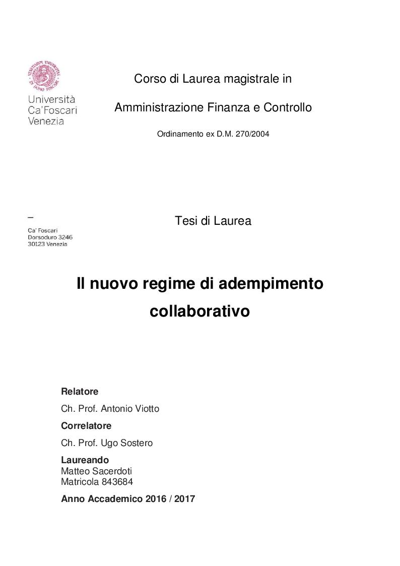 Anteprima della tesi: Il nuovo regime di adempimento collaborativo, Pagina 1