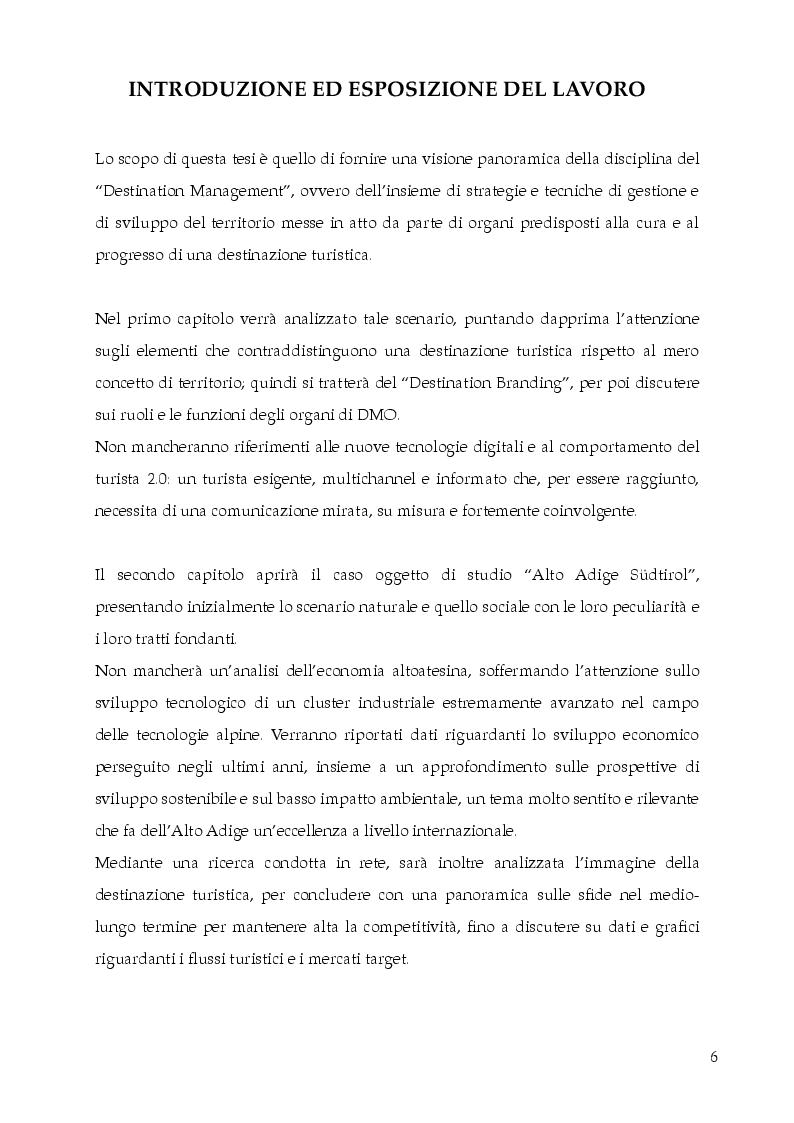 Anteprima della tesi: Destination Branding, Promozione Turistica e Sviluppo del territorio. Il caso Alto Adige Südtirol., Pagina 2