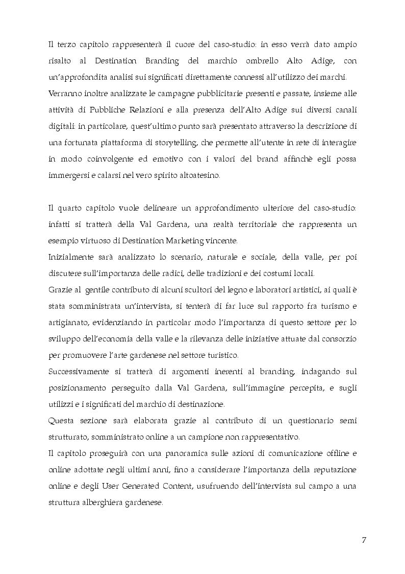 Anteprima della tesi: Destination Branding, Promozione Turistica e Sviluppo del territorio. Il caso Alto Adige Südtirol., Pagina 3
