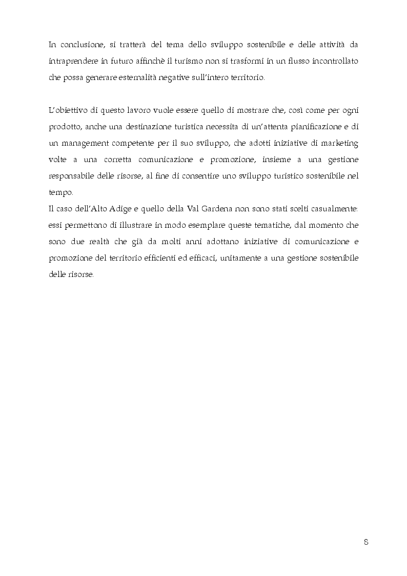 Anteprima della tesi: Destination Branding, Promozione Turistica e Sviluppo del territorio. Il caso Alto Adige Südtirol., Pagina 4