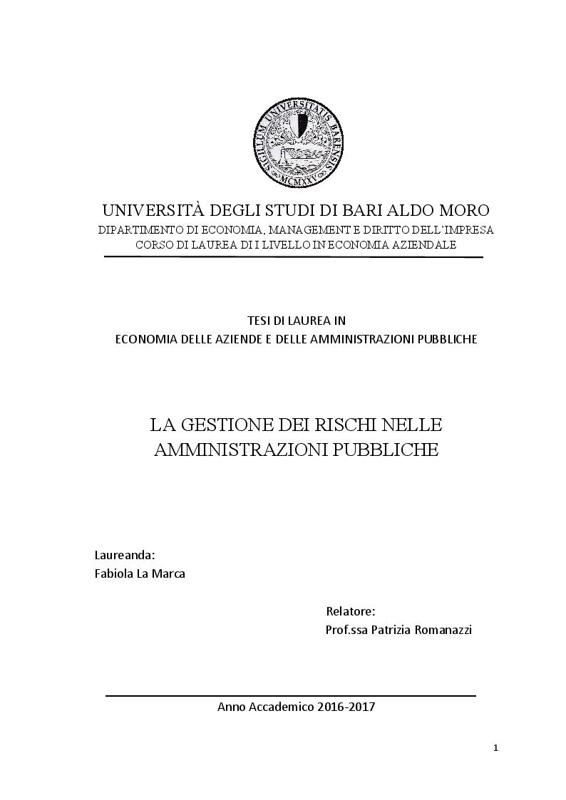 Anteprima della tesi: La gestione dei rischi nelle amministrazioni pubbliche, Pagina 1