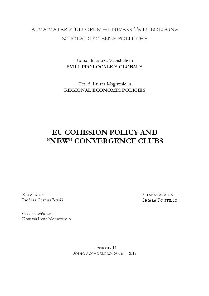 Anteprima della tesi: EU Cohesion Policy and new convergence clubs, Pagina 1