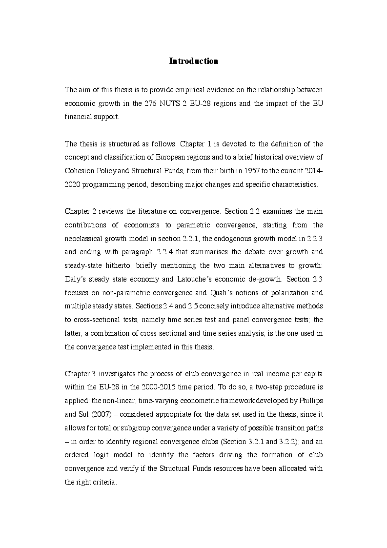Anteprima della tesi: EU Cohesion Policy and new convergence clubs, Pagina 2