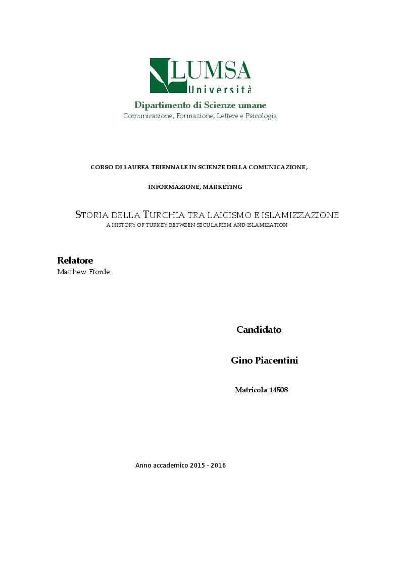 Anteprima della tesi: Storia della Turchia tra laicismo e islamizzazione, Pagina 1