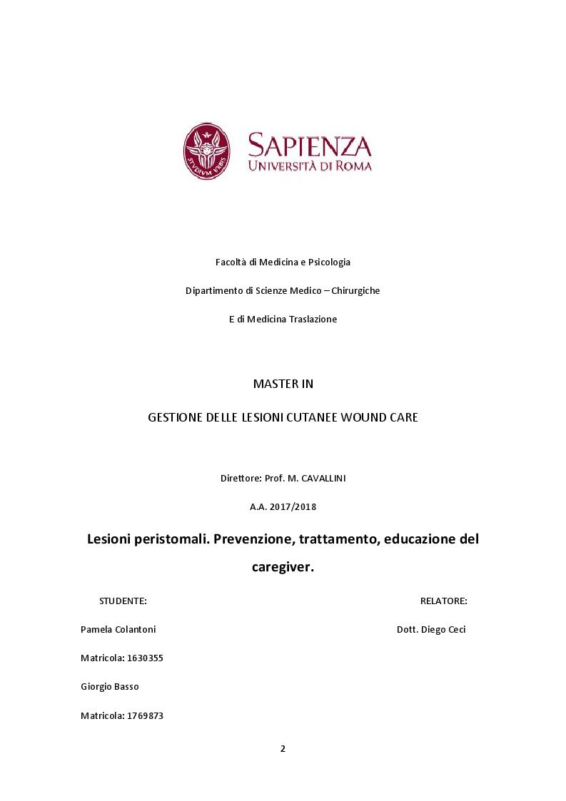 Anteprima della tesi: Lesioni peristomali. Prevenzione, trattamento, educazione del caregiver, Pagina 1
