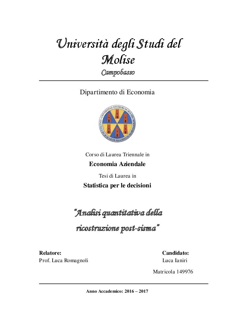 Anteprima della tesi: Analisi quantitativa della ricostruzione post-sisma , Pagina 1