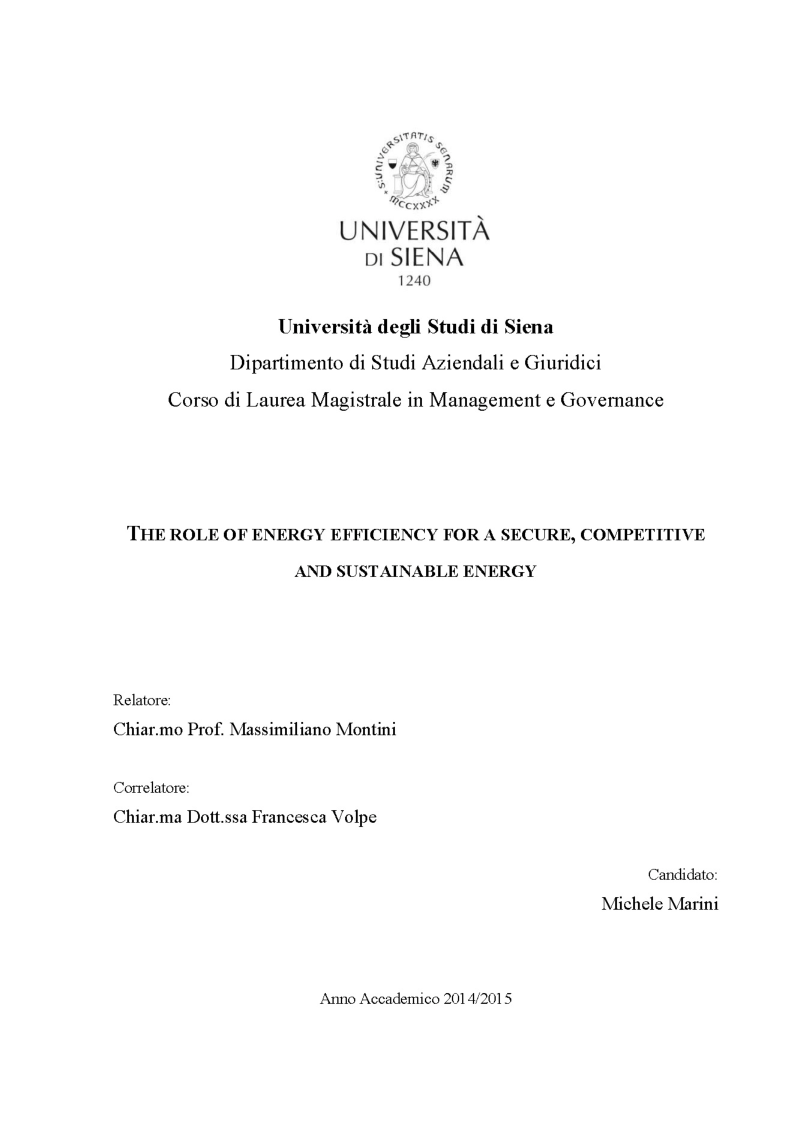 Anteprima della tesi: The role of energy efficiency for a secure, competitive and sustainable energy, Pagina 1