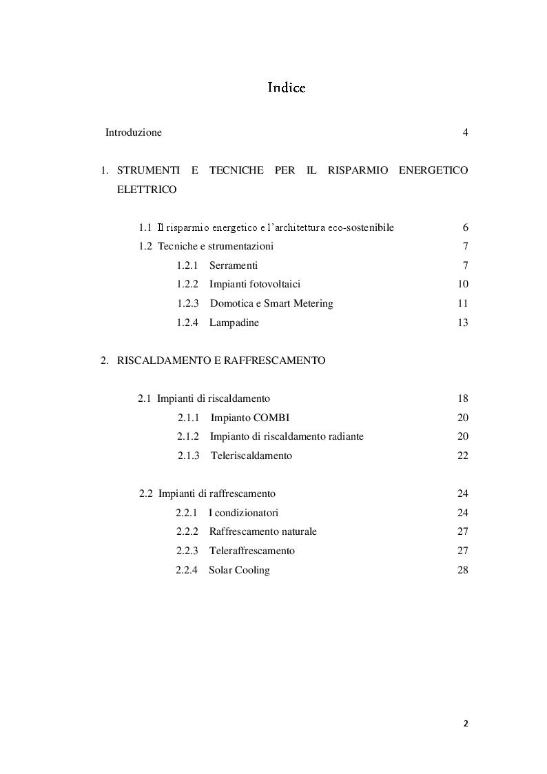 Indice della tesi: Strumenti e tecniche per il risparmio energetico nell'edilizia civile, Pagina 1