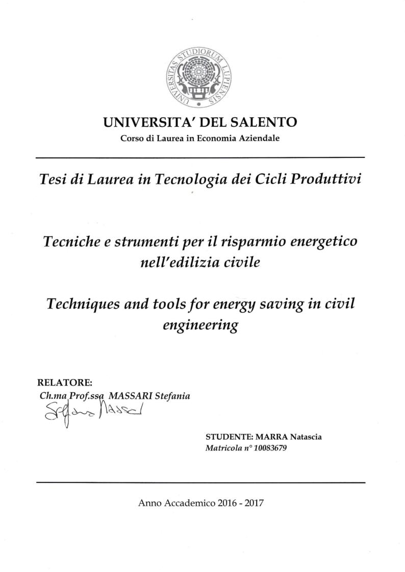 Anteprima della tesi: Strumenti e tecniche per il risparmio energetico nell'edilizia civile, Pagina 1