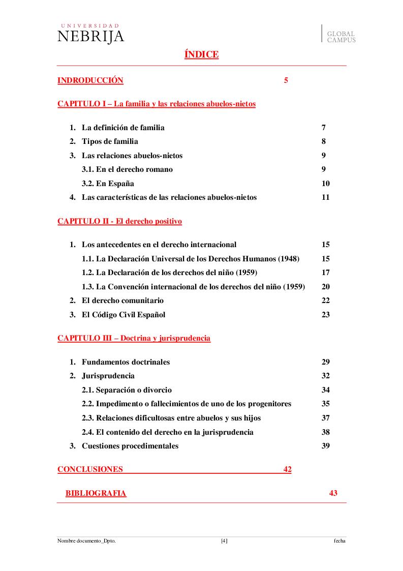 Indice della tesi: El derecho de visita de los abuelos con sus nietos, Pagina 1