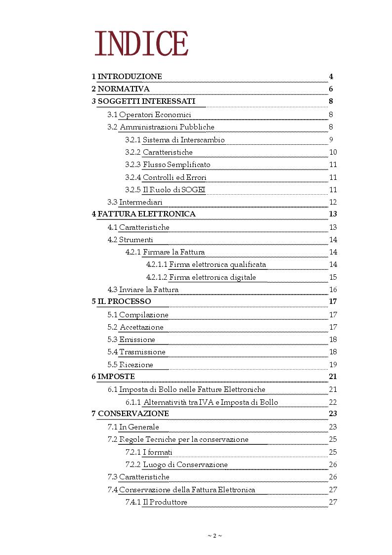 Indice della tesi: La Fatturazione elettronica verso la Pubblica Amministrazione, Pagina 1