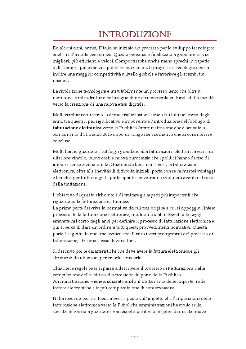 Anteprima della tesi: La Fatturazione elettronica verso la Pubblica Amministrazione, Pagina 2