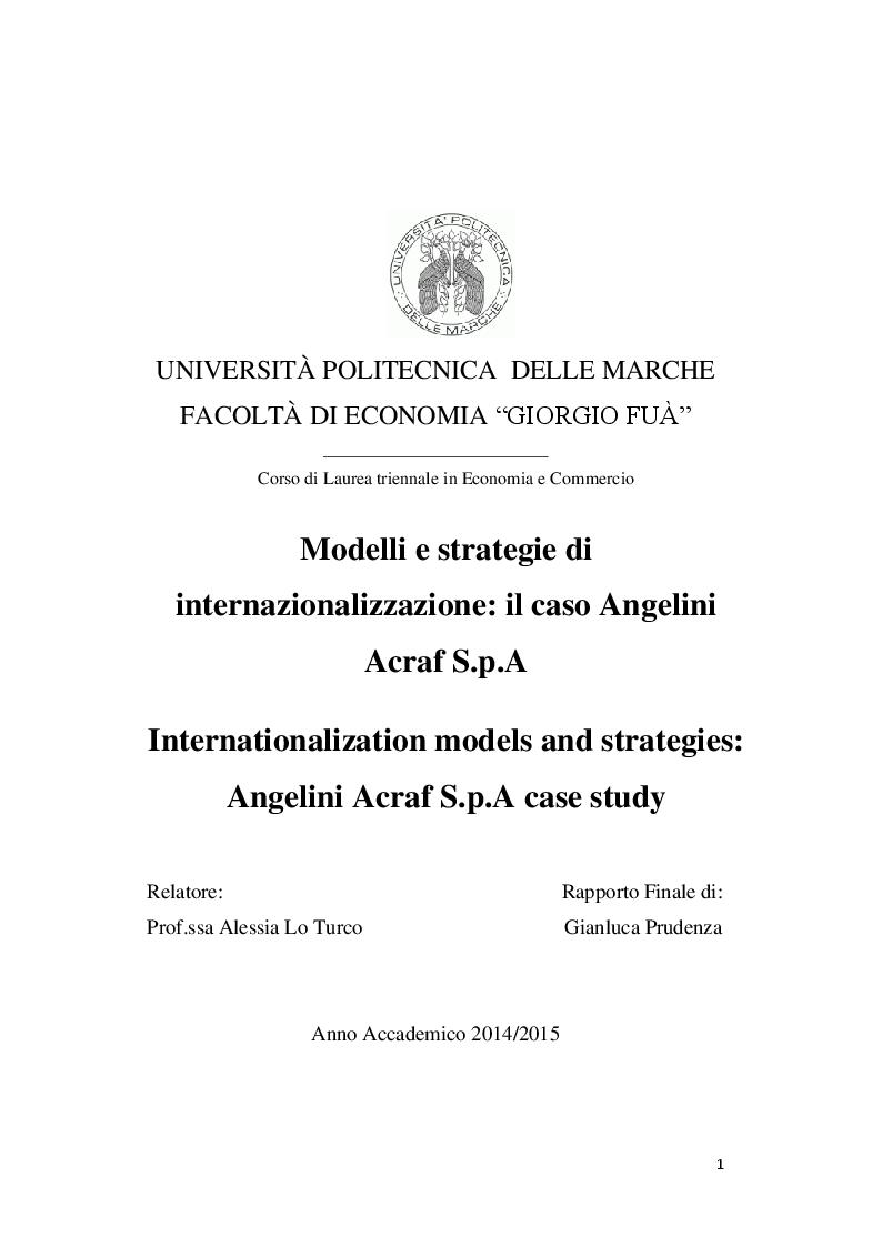 Anteprima della tesi: Modelli e strategie di internazionalizzazione: il caso Angelini Acraf S.p.A, Pagina 1