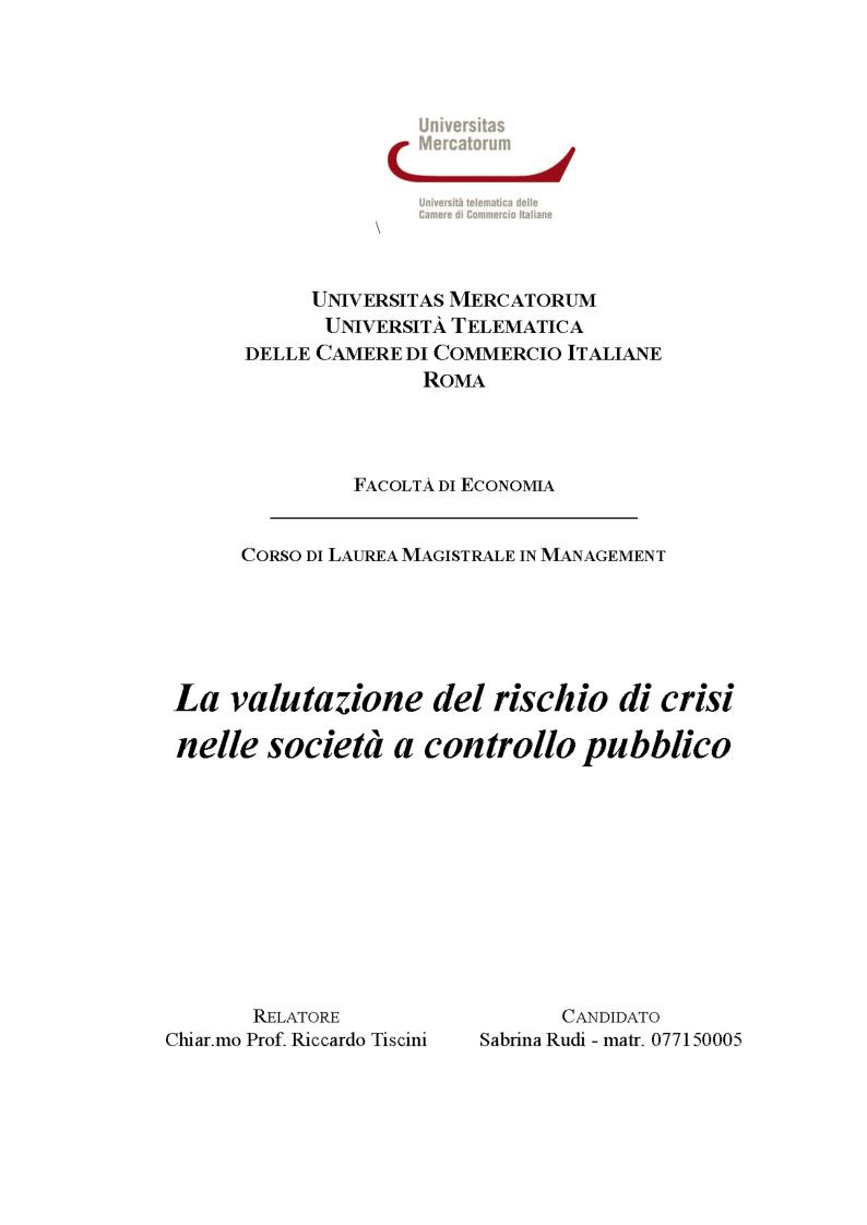 Anteprima della tesi: La valutazione del rischio di crisi  nelle società a controllo pubblico, Pagina 1