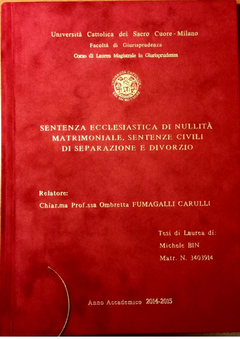 Anteprima della tesi: Sentenza ecclesiastica di nullità matrimoniale, sentenze civili di separazione e divorzio, Pagina 1
