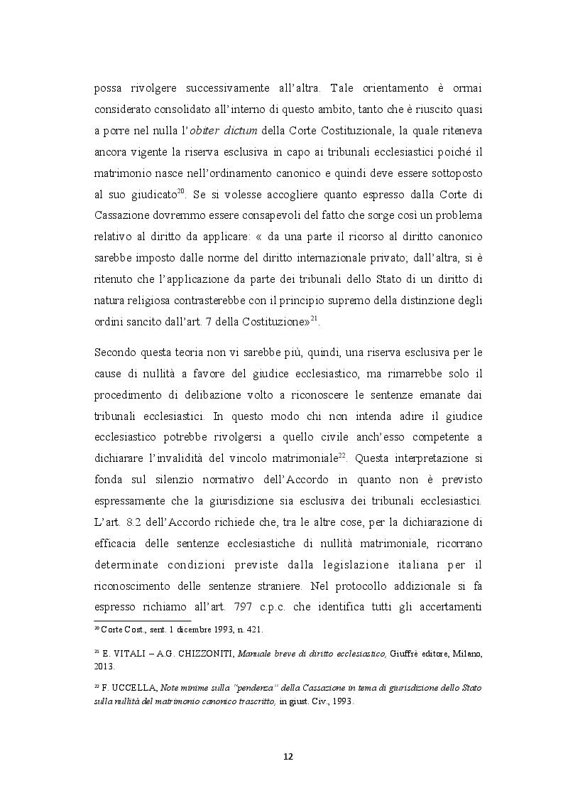 Anteprima della tesi: Sentenza ecclesiastica di nullità matrimoniale, sentenze civili di separazione e divorzio, Pagina 8