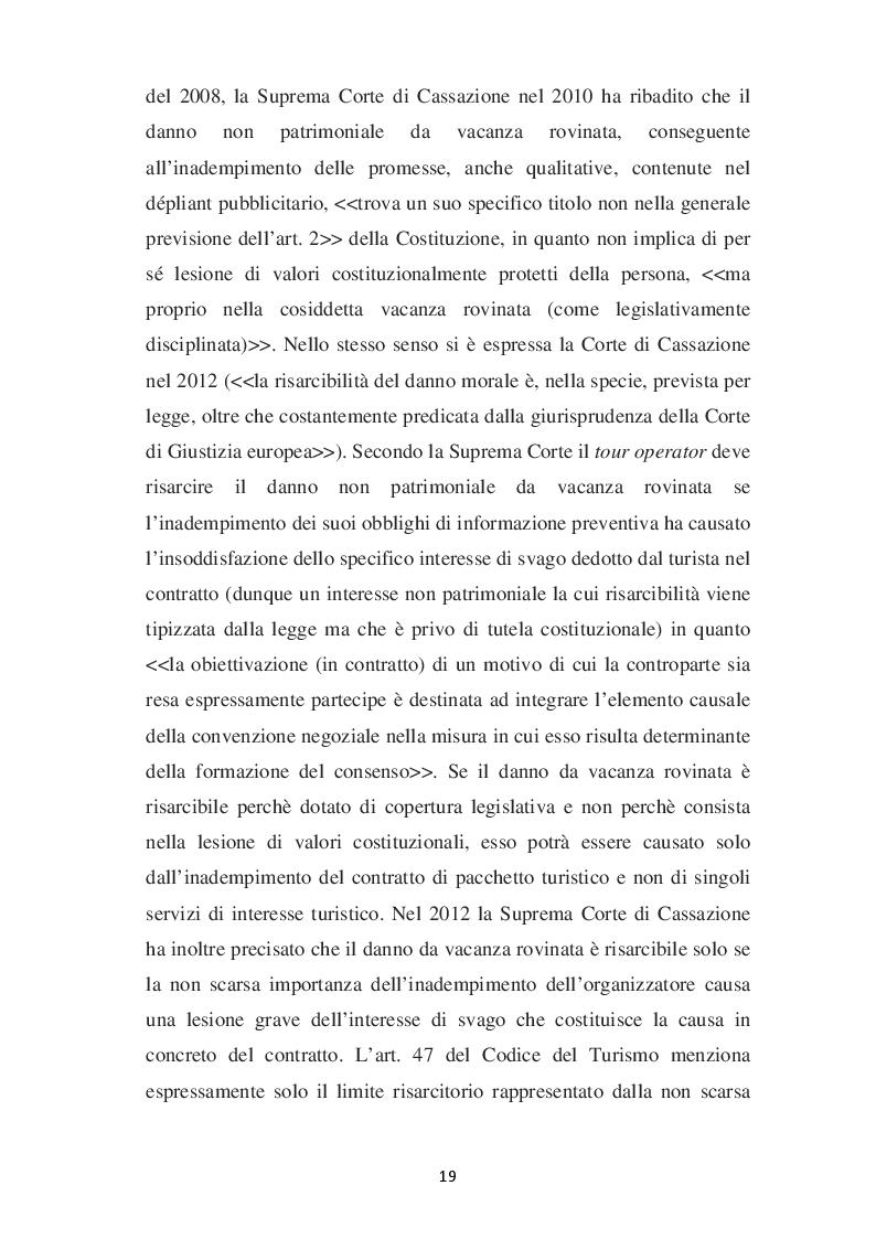 Estratto dalla tesi: L'evoluzione del concetto di DANNO DA VACANZA ROVINATA secondo la norma e la giurisprudenza