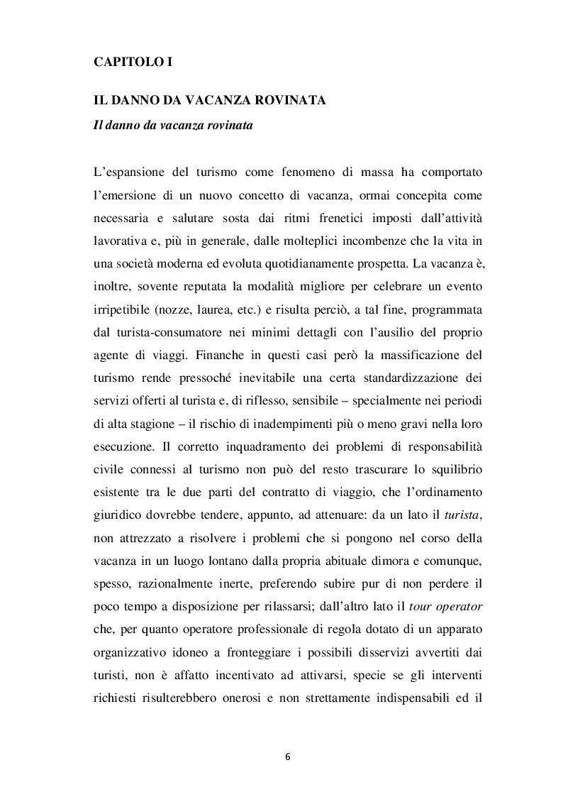 Anteprima della tesi: L'evoluzione del concetto di DANNO DA VACANZA ROVINATA secondo la norma e la giurisprudenza, Pagina 2