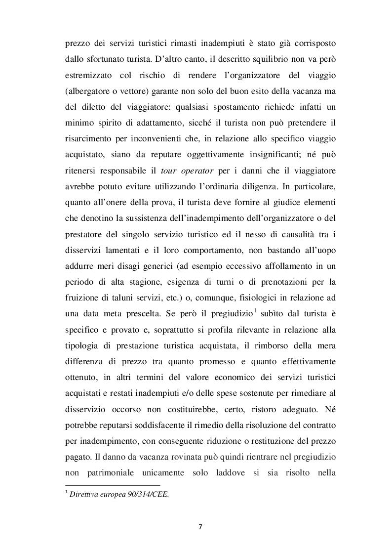 Anteprima della tesi: L'evoluzione del concetto di DANNO DA VACANZA ROVINATA secondo la norma e la giurisprudenza, Pagina 3
