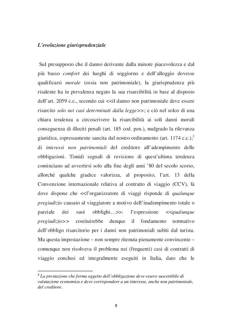 Anteprima della tesi: L'evoluzione del concetto di DANNO DA VACANZA ROVINATA secondo la norma e la giurisprudenza, Pagina 5