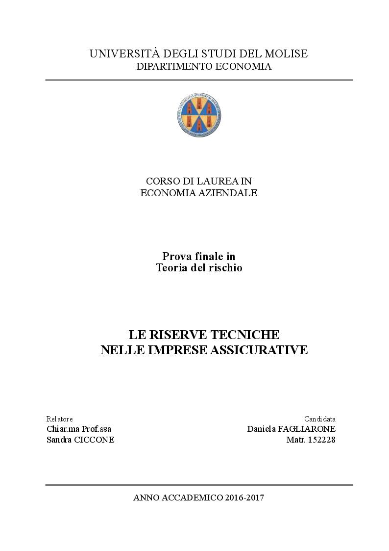 Anteprima della tesi: Le riserve tecniche nelle imprese assicurative, Pagina 1
