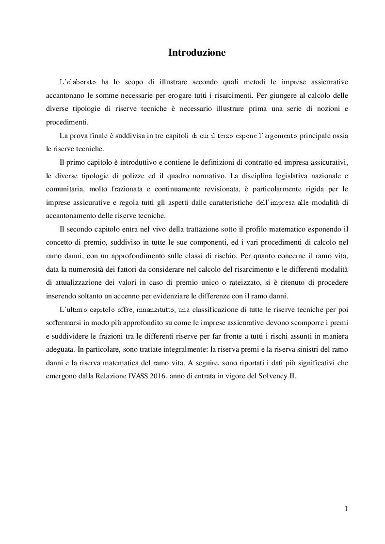 Anteprima della tesi: Le riserve tecniche nelle imprese assicurative, Pagina 2