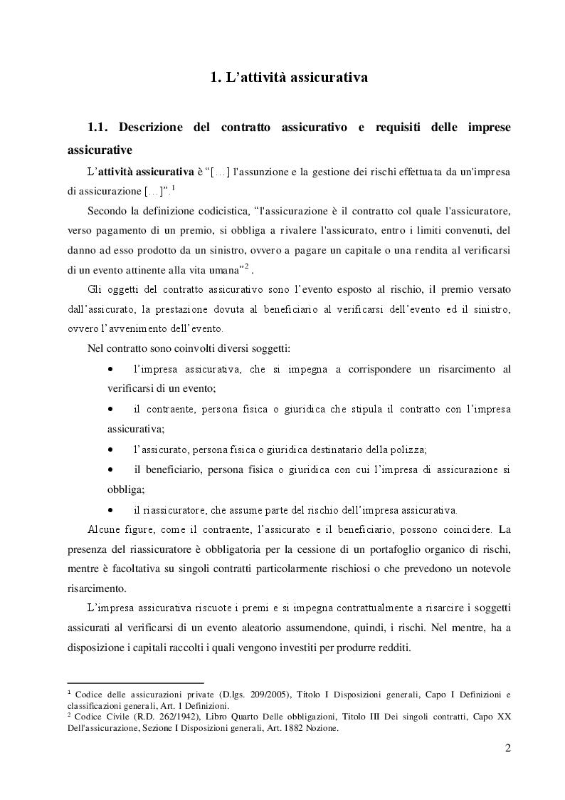 Anteprima della tesi: Le riserve tecniche nelle imprese assicurative, Pagina 3