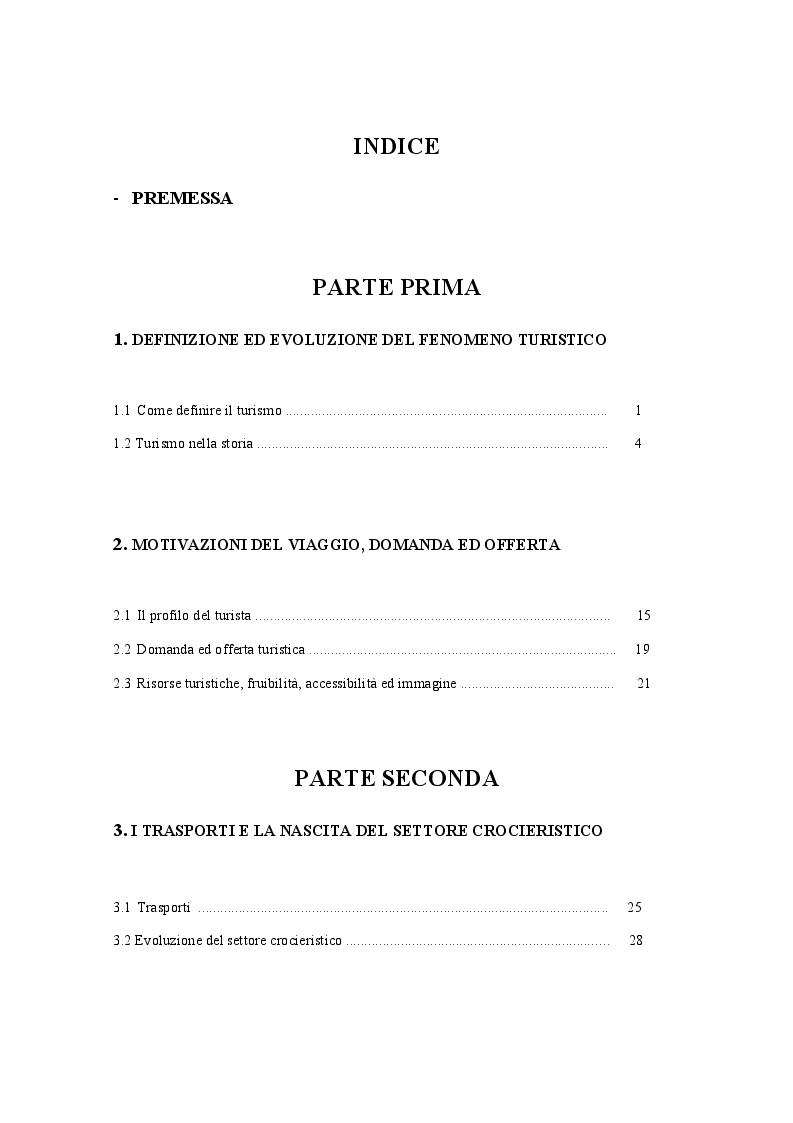 Indice della tesi: Espansione ed originalità del turismo crocieristico: le nuove realtà dei resorts galleggianti, Pagina 1