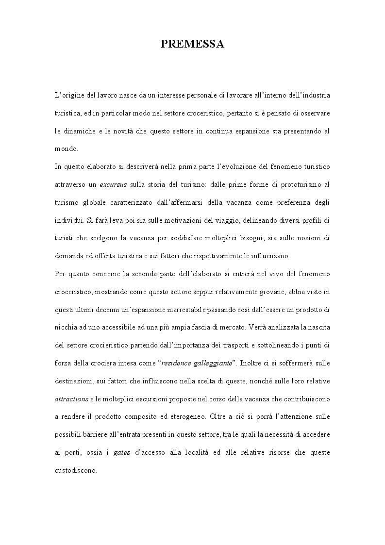 Anteprima della tesi: Espansione ed originalità del turismo crocieristico: le nuove realtà dei resorts galleggianti, Pagina 2