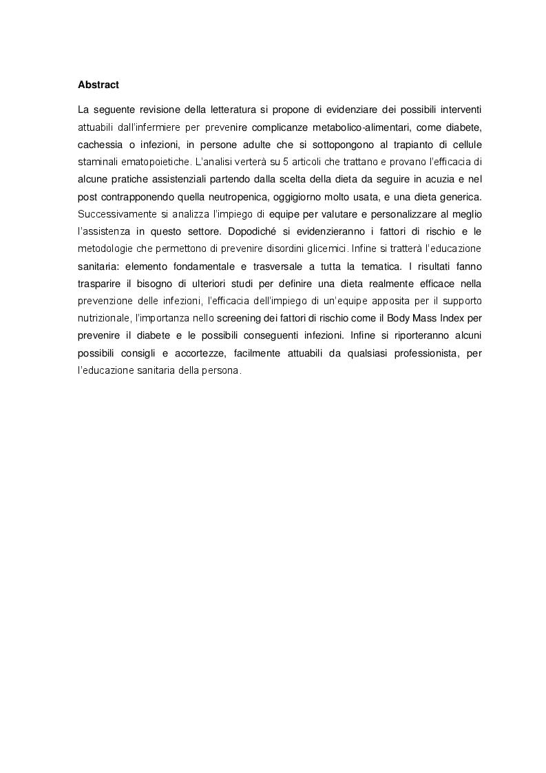 Anteprima della tesi: Possibili interventi attuabili dall'infermiere per prevenire complicanze metabolico-alimentari in pazienti sottoposti a trapianto di cellule staminali ematopoietiche, Pagina 2