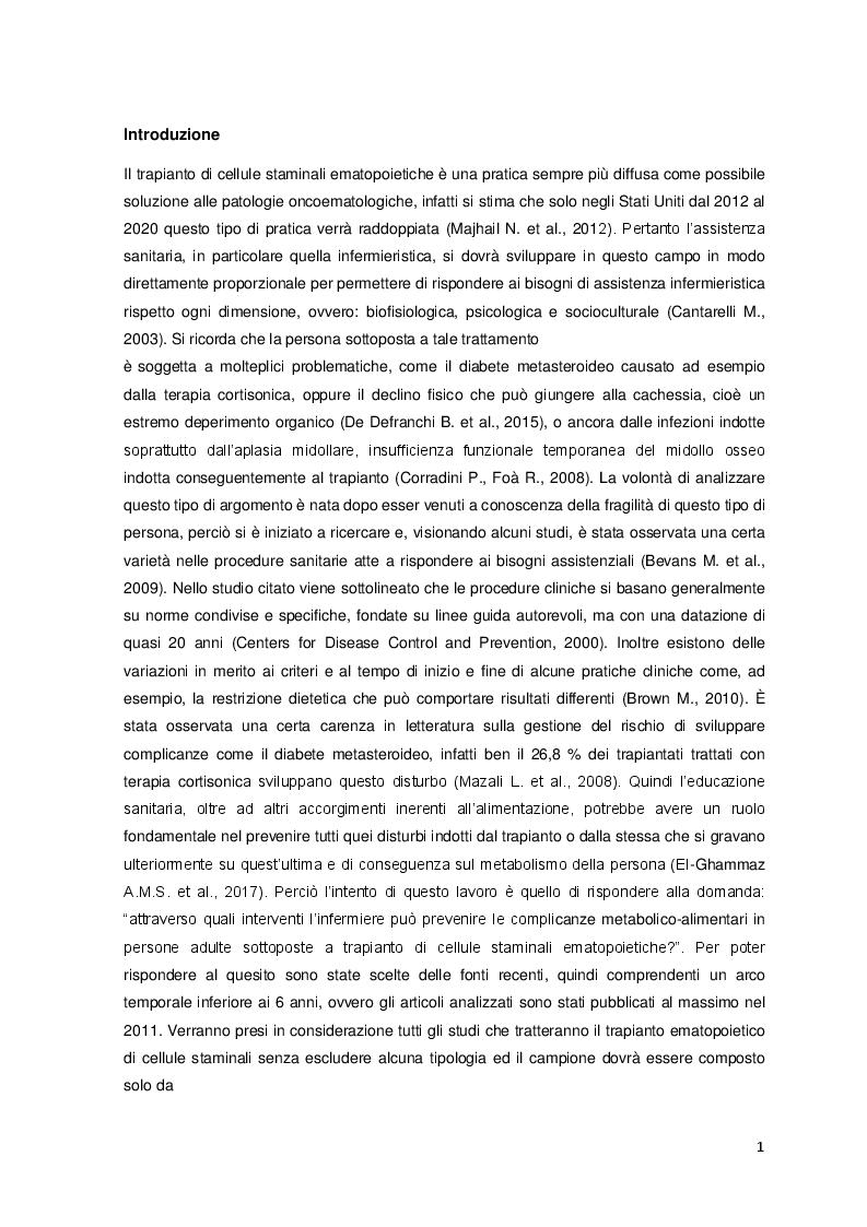 Anteprima della tesi: Possibili interventi attuabili dall'infermiere per prevenire complicanze metabolico-alimentari in pazienti sottoposti a trapianto di cellule staminali ematopoietiche, Pagina 3