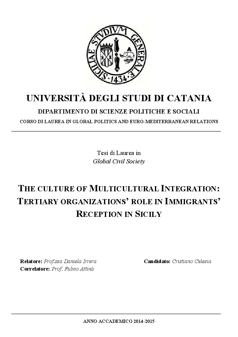 Anteprima della tesi: The Culture of Multicultural Integration: Tertiary Organisations' Role in Immigrants' Reception in Sicily, Pagina 1