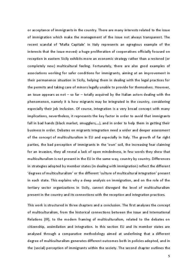 Anteprima della tesi: The Culture of Multicultural Integration: Tertiary Organisations' Role in Immigrants' Reception in Sicily, Pagina 3