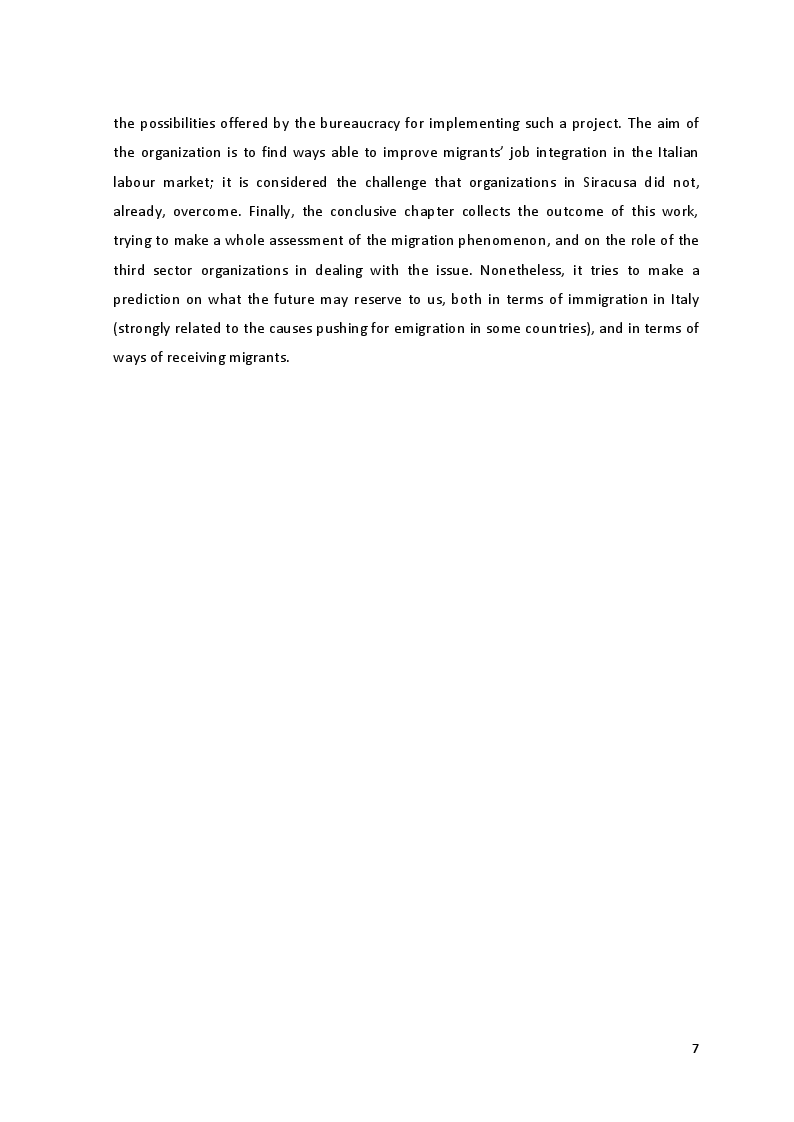 Anteprima della tesi: The Culture of Multicultural Integration: Tertiary Organisations' Role in Immigrants' Reception in Sicily, Pagina 5