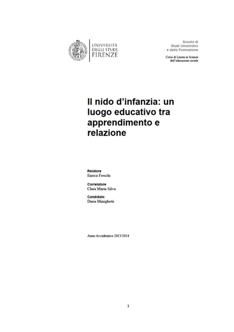 Anteprima della tesi: Il nido d'infanzia: un luogo educativo tra apprendimento e relazione, Pagina 1