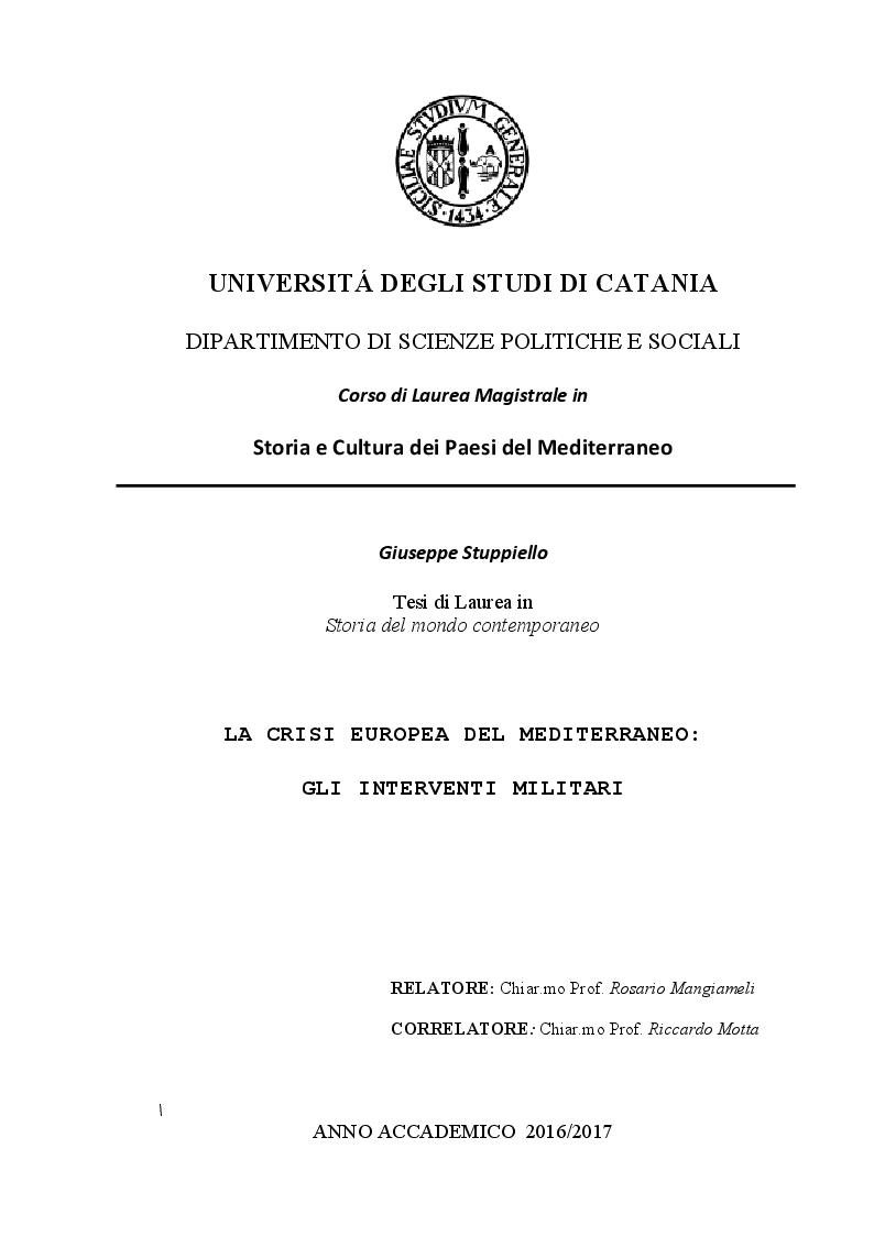 Anteprima della tesi: LA CRISI EUROPEA DEL MEDITERRANEO: Gli Interventi Militari, Pagina 1