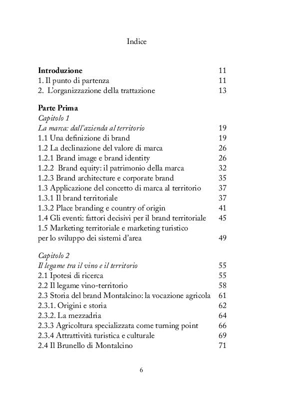 Indice della tesi: Strategie di comunicazione e marketing per Montalcino e il suo Brunello, Pagina 1