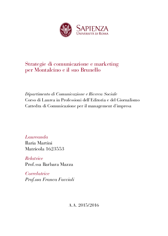 Anteprima della tesi: Strategie di comunicazione e marketing per Montalcino e il suo Brunello, Pagina 1