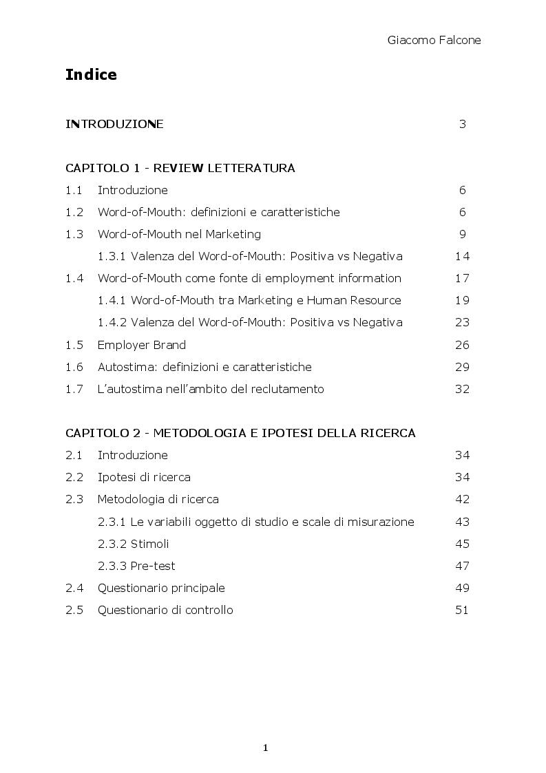 Indice della tesi: Word-of-Mouth ed Attrattività Organizzativa: valenze del messaggio, employer brand e autostima del ricevente, Pagina 1