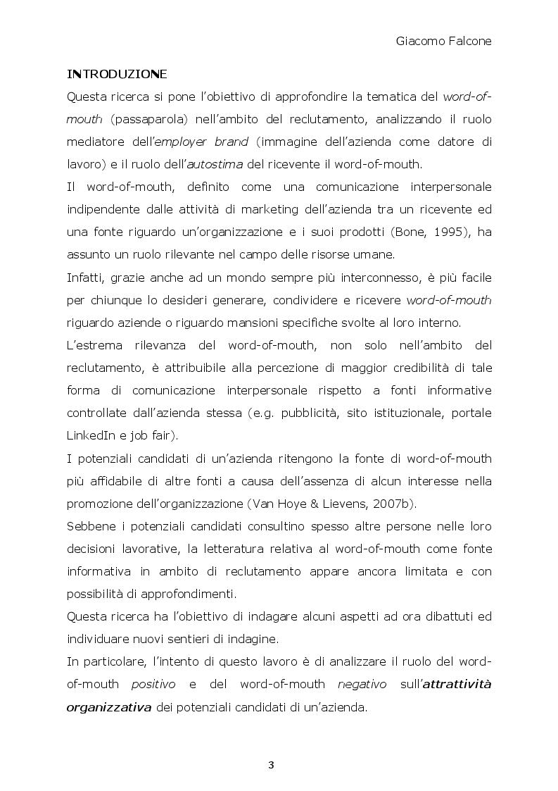 Anteprima della tesi: Word-of-Mouth ed Attrattività Organizzativa: valenze del messaggio, employer brand e autostima del ricevente, Pagina 2