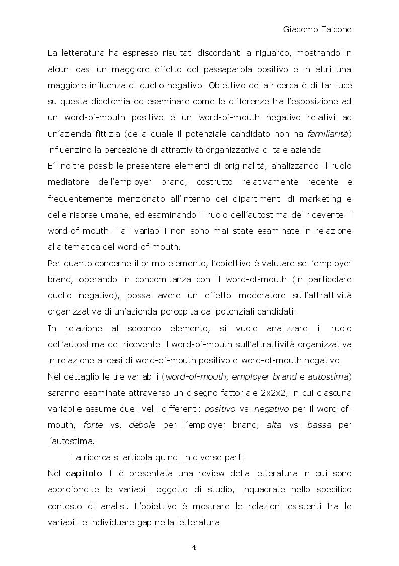 Anteprima della tesi: Word-of-Mouth ed Attrattività Organizzativa: valenze del messaggio, employer brand e autostima del ricevente, Pagina 3