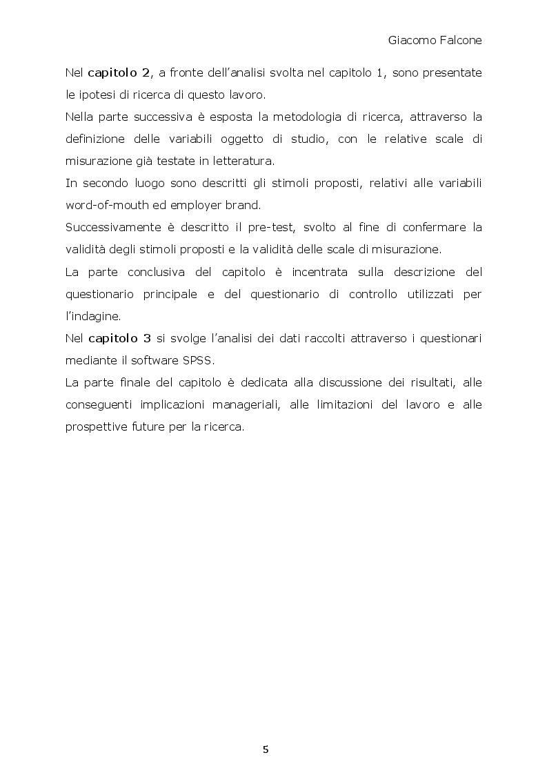 Anteprima della tesi: Word-of-Mouth ed Attrattività Organizzativa: valenze del messaggio, employer brand e autostima del ricevente, Pagina 4