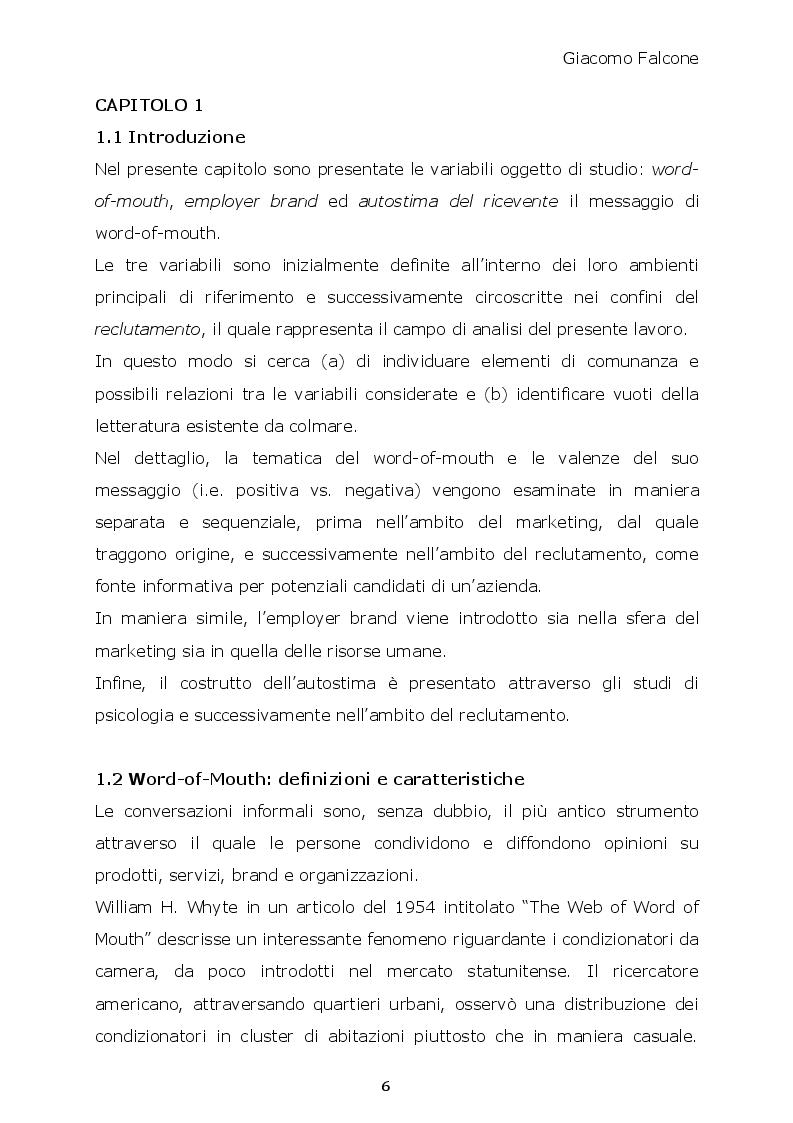 Anteprima della tesi: Word-of-Mouth ed Attrattività Organizzativa: valenze del messaggio, employer brand e autostima del ricevente, Pagina 5