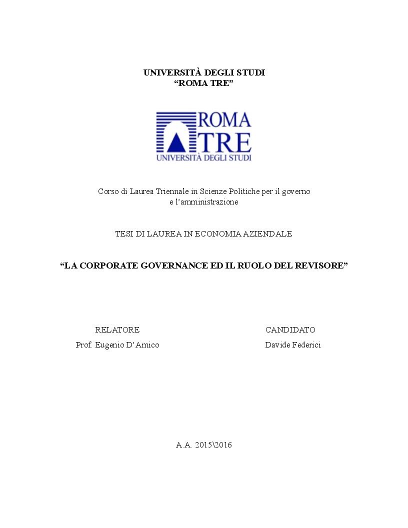Anteprima della tesi: La corporate governance ed il ruolo del revisore, Pagina 1