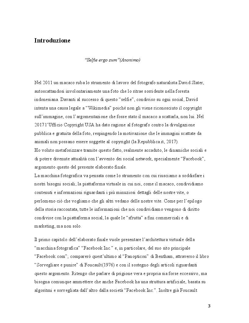 Anteprima della tesi: Il selfie del macaco. Facebook tra panopticismo e condizionamenti sociali., Pagina 2