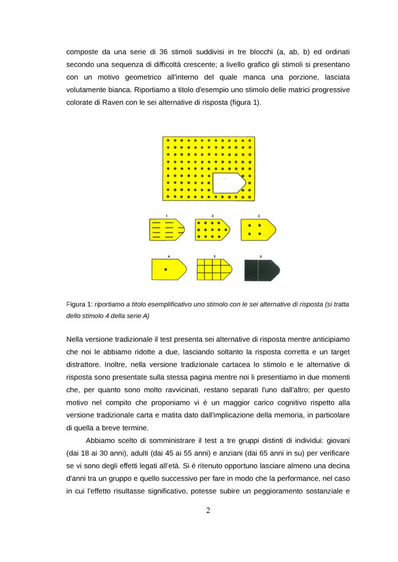 Anteprima della tesi: Analizzare la performance cognitiva mediante la metodologia del mouse tracking: uno studio preliminare su un adattamento del test delle matrici di Raven in tre gruppi di partecipanti, Pagina 3