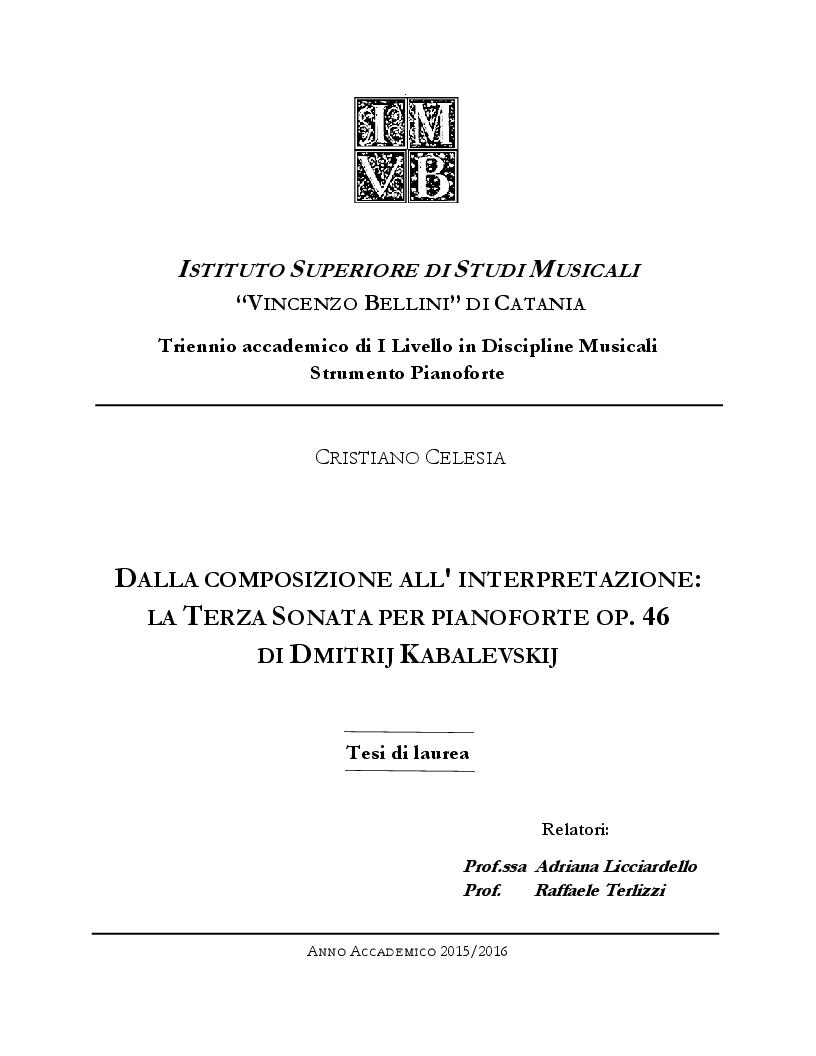 Anteprima della tesi: Dalla Composizione all'Interpretazione: La Terza Sonata per Pianoforte op. 46 di Dmitri Kabalevskij, Pagina 1