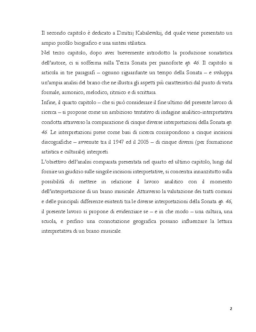 Anteprima della tesi: Dalla Composizione all'Interpretazione: La Terza Sonata per Pianoforte op. 46 di Dmitri Kabalevskij, Pagina 3